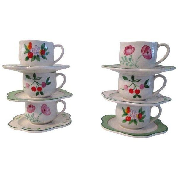 Italian Hand-Painted Cups & Saucers - 12 Pcs ($85) ❤ liked on Polyvore featuring home, kitchen & dining, drinkware, mugs & cups, tea mugs, floral mugs, white cup, white tea mugs and tea cup