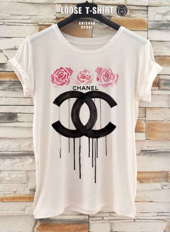 chanel fashion tshirt/white/black t-shirt / Printed T-Shirt / cotton tshirt/ eco print tshirt/ loose tshirt/waisted shirt on Etsy, $18.90