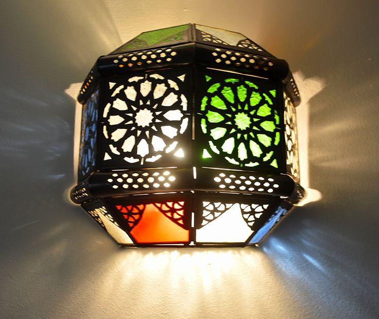 Lampara de techo octagonal metal perforado a mano- vidrio claro y multicolor Altura 35 Ancho 35 Diametro 35 cm: Amazon.es: Iluminación