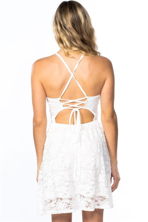 LADIES WHITE LACE FIT AND FLARE DRESS SIZE: L was:$40.00 now:$17.00  or 4 payments of $4.25 with Afterpay