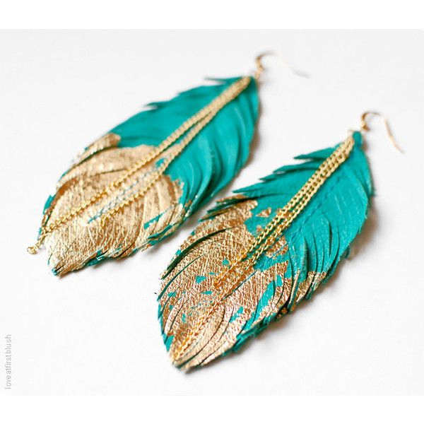 Feather Earrings - Leather Feather Jewelry - Dipped in Gold - Turquoise Leather (95 PLN) found on Polyvore