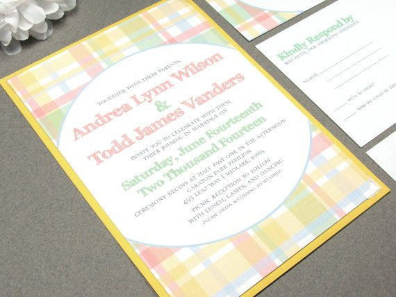 Picnic Wedding Invitation Suite - Rustic Wedding Invites - Country Wedding Pocketfolder - Mint and Coral Wedding Invitations - Plaid Wedding by RunkPockDesigns
