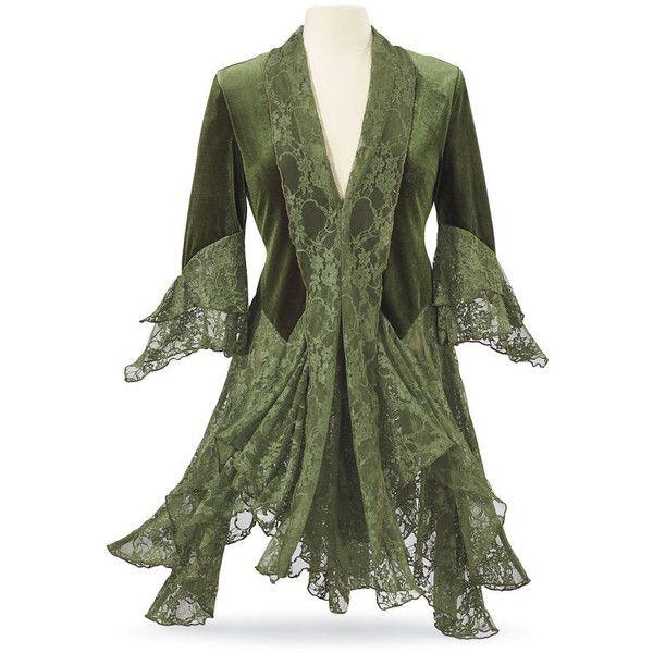 Goddess Plus Sizes ($80) ❤ liked on Polyvore featuring goth jacket, green lace jacket, celtics jacket, green jacket and gothic jackets