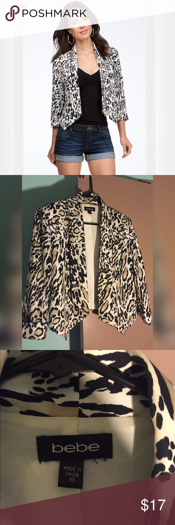 Bebe animal printed blazer This Bebe blazer is in excellent condition only been worn a couple of times. bebe Jackets & Coats Blazers