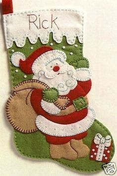 """Bucilla discontinuado Santa Navidad Medias rápido y fácil de fieltro Kit-15"""" Nuevo in Artesanías, Artesanías con agujas e hilos, Bordado y punto de cruz   eBay"""