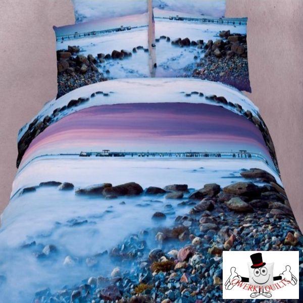 3d Light Blue Ocean Beach Bedding Set And Quilt Cover Set