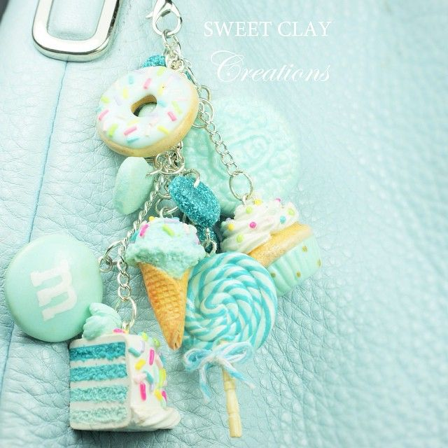 Teal clay charms