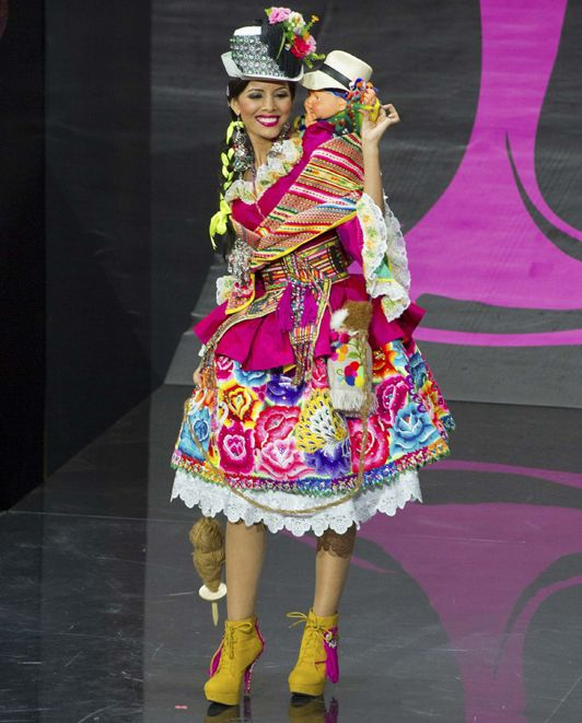Miss Peru with traditional dress inspriration from Inca tribal