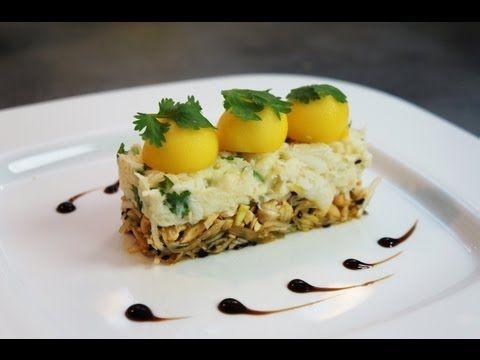 Recette d'entrée : crabe fondant citronné, coriandre, mangue et cajou - YouTube