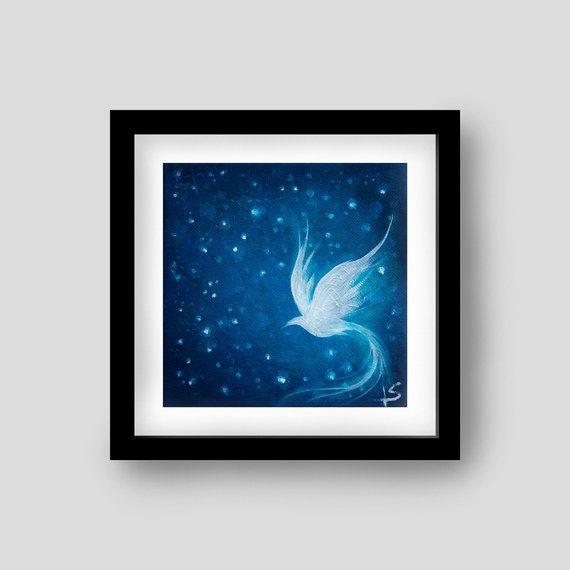 White Bird at Night Archival Art Print  Sapphire by PaperFinchArt