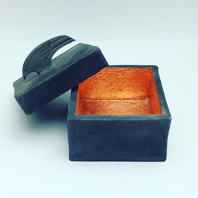 Raku fired box, The Raven who stole the sun. Lined with copper leaf. #handmade #ceramics #raku