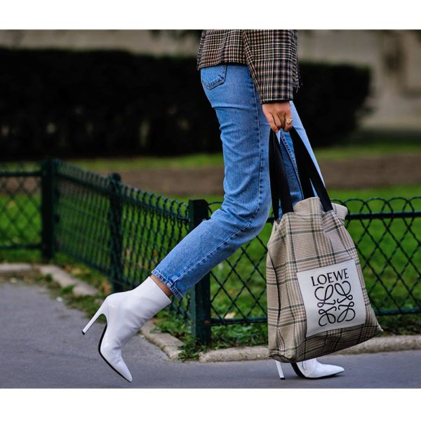 - White boots are a remarkably fresh contrast to denim and plaid.