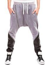 EKU Hommes Cool Faux-Cuir de Contraste Entrejambe Jogger Pantalon(China (Mainland))