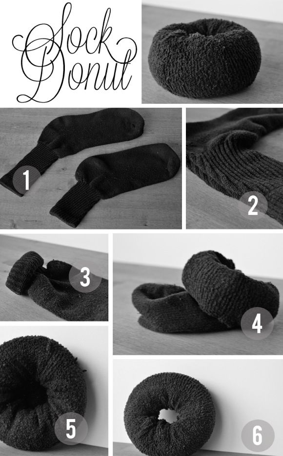 DIY sock bun for hair via isavirtue: how to | a sock bun. For Kinky Curly texture hair -> 1st step...Put the sock inside a knee high (then proceed with steps in picture). The knee high will prevent hair from rubbing and getting pulled out by the cotton.