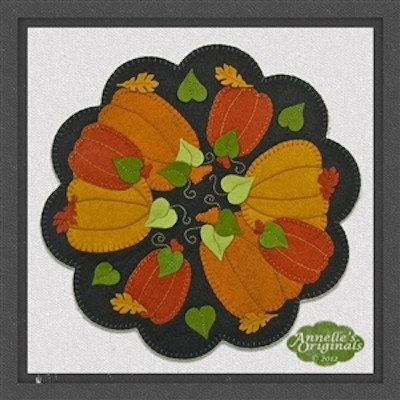 Pumpkin Patch Round Candle Mat PRECUT Wool Applique KIT with Instructions, Fall, Thanksgiving, Autumn, Penny Rug, Needlecraft, Orange. $22.00, via Etsy.