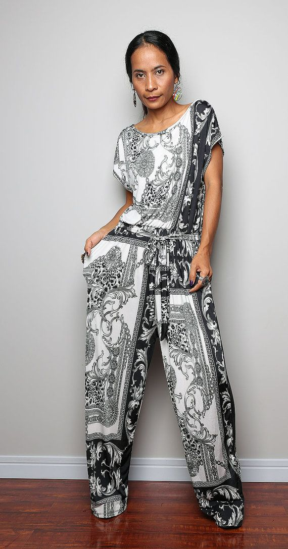 Black and White Jumpsuit -  Bohemian Jumper Maxi Dress  : Simply Jumpsuit Collection