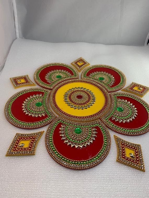 Reusable Acrylic Rangoli Home Decor Floor Decoration Table Etsy Acrylic Rangoli Diwali Decorations At Home Diy Diwali Decorations