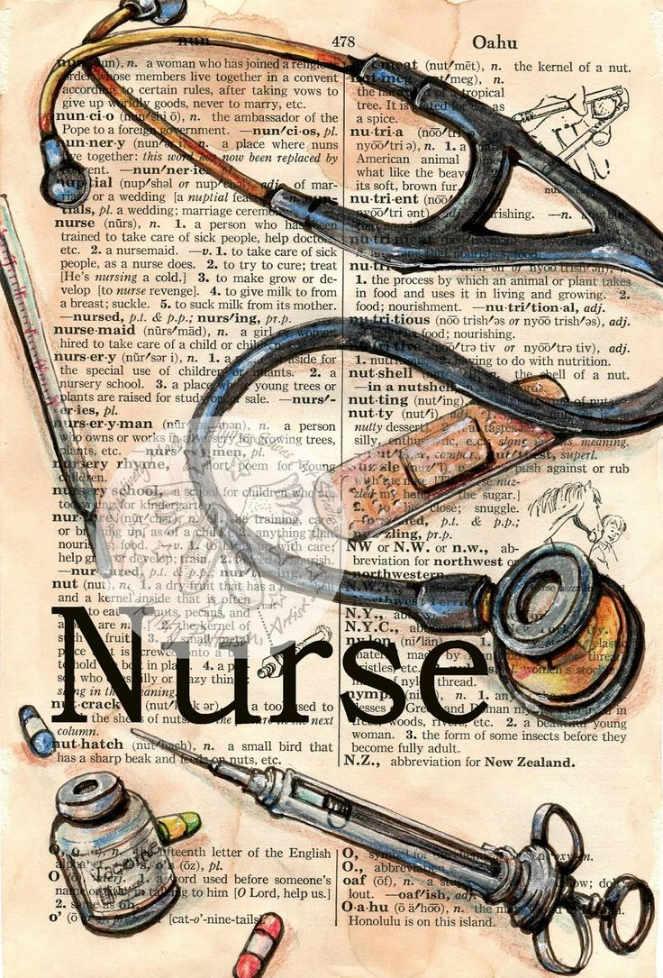 Nurse, mixed media on distressed dictionary page, an illustrative tribute to nurses by artist Kristy Patterson of the Flying Shoes Art Studio