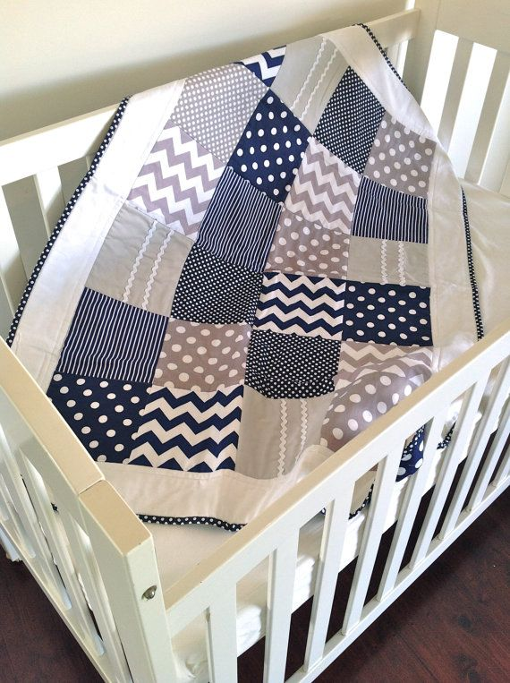 Baby Boy Crib Quilt in modern navy and by AlphabetMonkey on Etsy