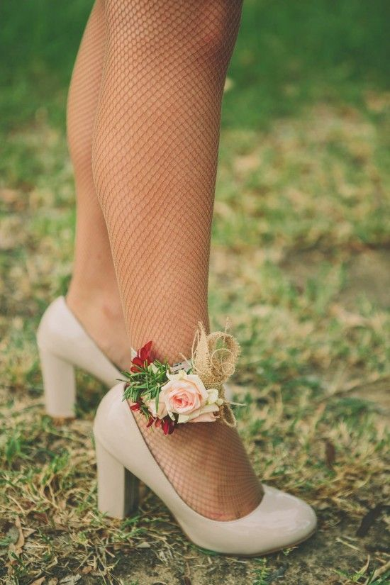 bridesmaid ankle corsages!