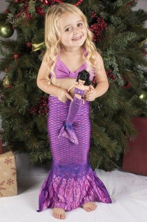 Matching Little sister mermaid swimsuit costume and doll set. Get yours at www.finfun.com this one in Asian Magenta (purple) Doll and adorable toddler not included ;)