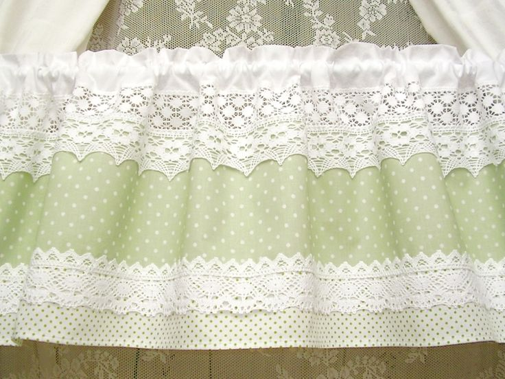 Vintage Landhausgardine grün dots shabby chic 284 von bluebasar via dawanda.com