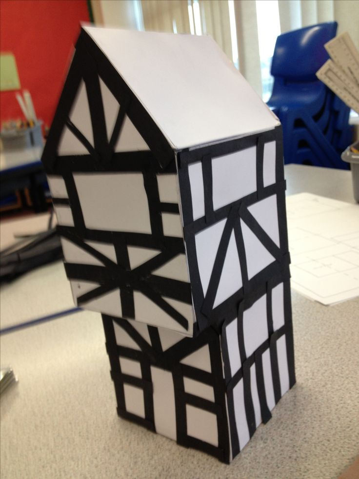 Tudor house in year 4, made with 3d shape nets and symmetrical patterns on the outside. Good maths project!