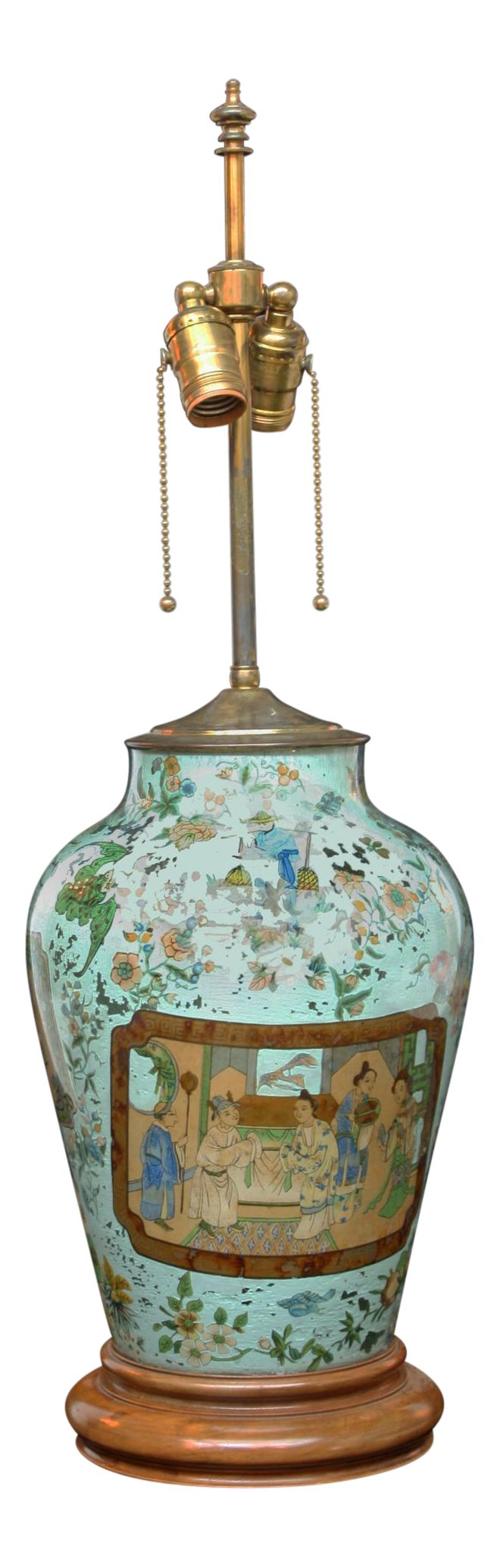 Chinese Decalcomania Glass Vase Turned Lamp with Chinese Motif on DECASO.com