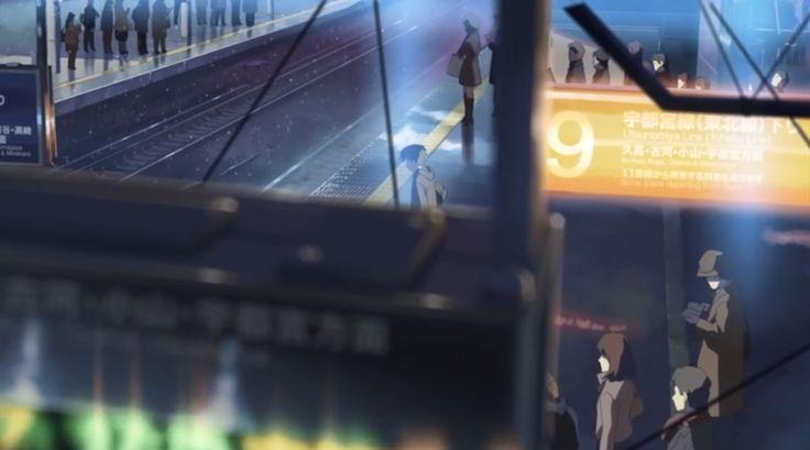 11:14:13 JR大宮駅 9番線ホーム 案内版 ★画像解析にて場所を推測。2009年12月20日、現地確認。 第1話、大宮駅での乗り換えのシーン。「雪の日の都市独特の匂いに満ちて、冷たかった。」の辺りのカット。 8・9番線へ下りる階段の途中から見た光景。 劇中カットでは、すぐ手前に電光掲示板が描かれているが、実際にはこの場所に電光掲示板は存在しない。
