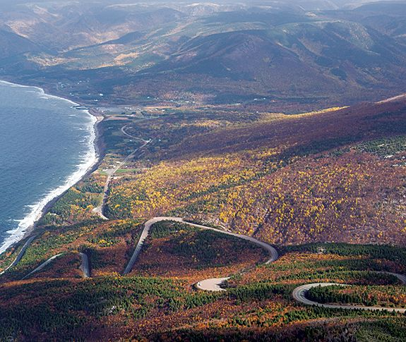 Aerial view of a portion of the Cabot Trail in Cape Breton Island