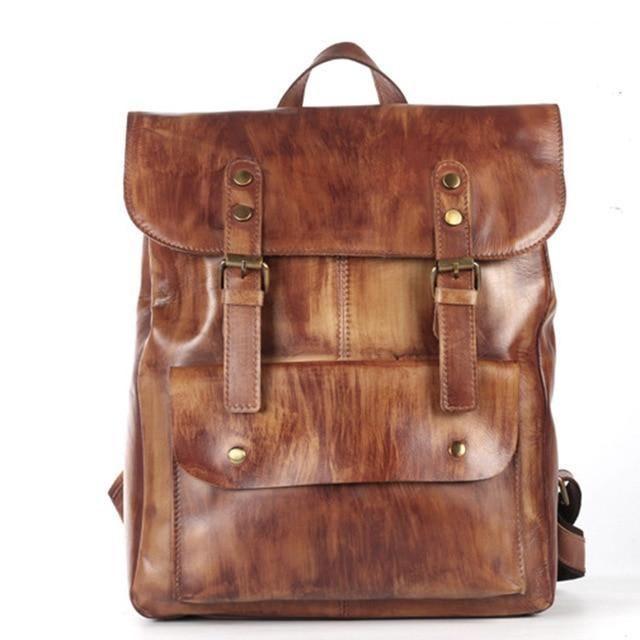 Backpack Men Cowhide Genuine Leather