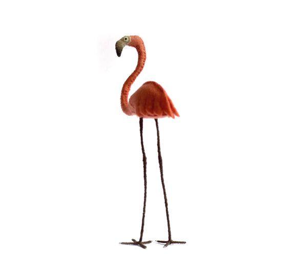 Flamingo figurine Pink Flamingo Felt bird pink by FantailsAndFeet