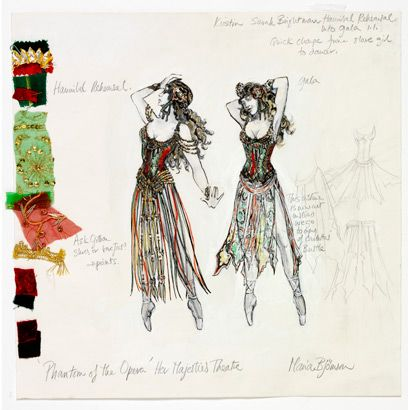 "Costume design for ""Hannibal"" in The Phantom of the Opera (Maria Bjornson) for the stage musical."