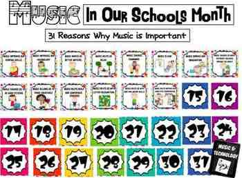 31 Reasons Why Music Is Important- Music Advocacy Bulletin Board- Similar to an Advent Calendar, every day in March (Music in our Schools Month) a new reason of why music is important is revealed.