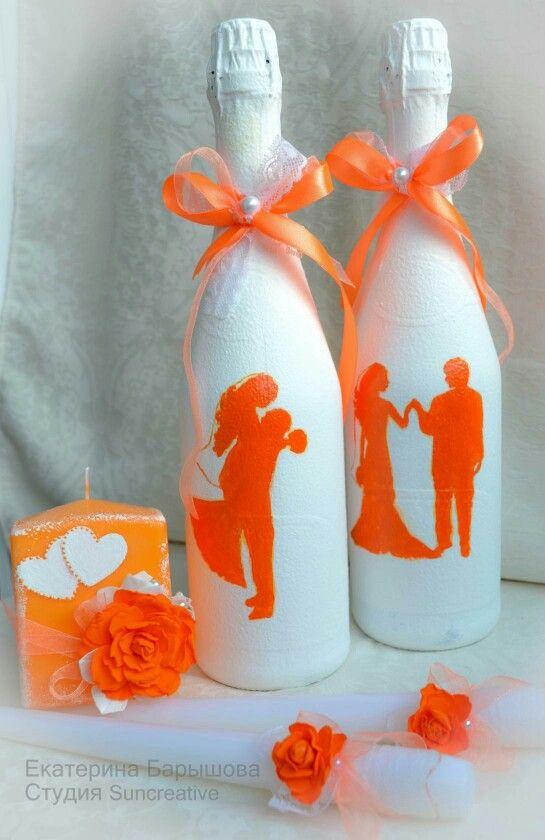 Оформление свадебных атрибутов для свадьбы в бело-оранжевых тонах..Авторская работа.