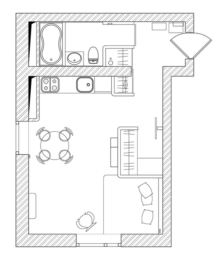 not very interesting apartment but I like how the closet creates the sleeping alcove