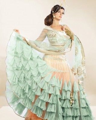 #Exclusivelyin, #IndianEthnicWear, #IndianWear, #Fashion, Blush Peach Lengha Set with Sea Green Ruffles