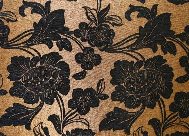 Majestic Flower Black Gold Is A Luxurious Jacquard Chenille In Traditional Floral Design