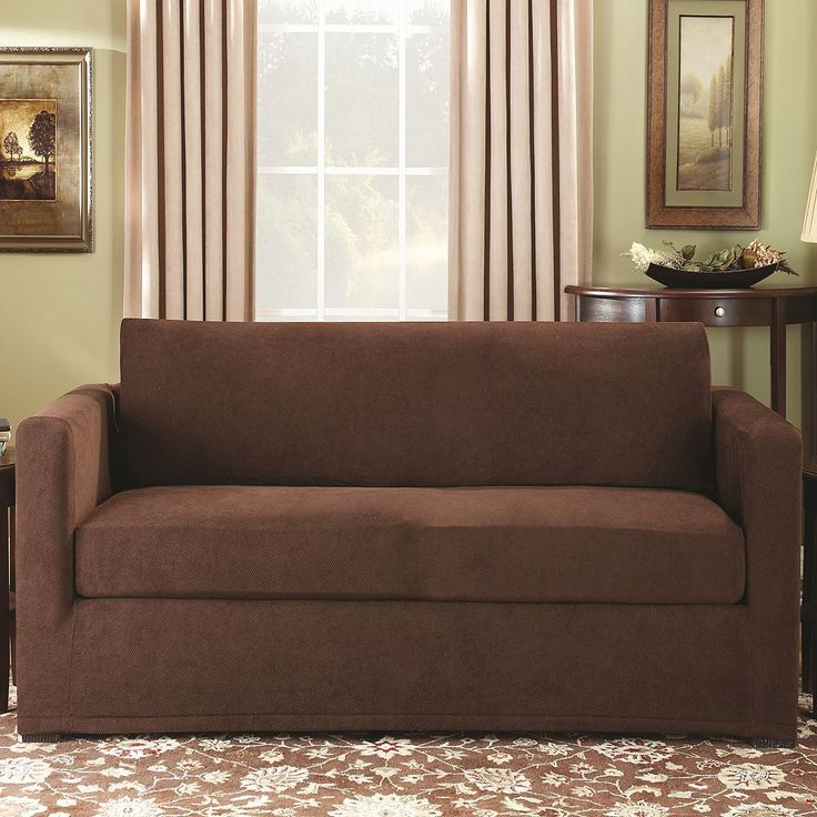 Sure Fit Stretch Pique 2-pc. Loveseat Slipcover, Brown
