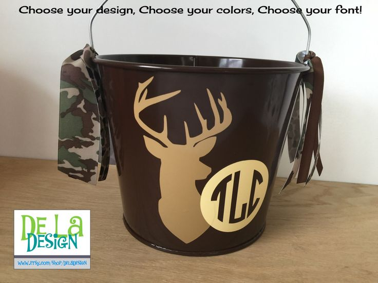 Personalized Easter basket, 5 quart bucket, Outdoor, deer, buck, hunting, Halloween trick or treat, baby nursery, Father's day gift basket by DeLaDesign on Etsy https://www.etsy.com/listing/231855897/personalized-easter-basket-5-quart