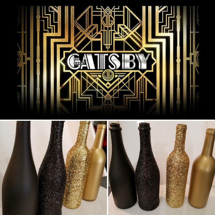 LOT OF 4 - Great Gatsby / Roaring 20s themed GLITTER Wine Bottles Sparkling Wedding Bridal Party Centerpiece or Home Decor bling by PrettyRandomDesign on Etsy https://www.etsy.com/listing/570154909/lot-of-4-great-gatsby-roaring-20s-themed