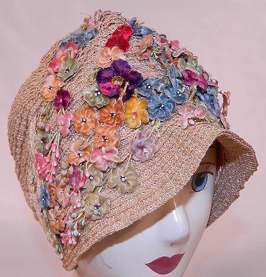 Vintage 1920s Gatsby Woven Natural Straw Pastel Velvet Floral Flapper Cloche Hat | eBay