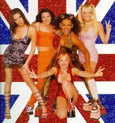 """Halloween Costume Ideas...from the 90s! : Slaves to Fashion: Fashion: glamour.com ---   The Spice Girls  What you'll need: Four willing friends with a love of """"Stop Right Now,"""" platform sneakers, glitter capes, a Union Jack T-shirt, microphones (karaoke machine optional)."""