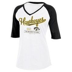 NCAA Iowa Hawkeyes Women's Fashion V-Neck Raglan T-Shirt - XL, Multicolored