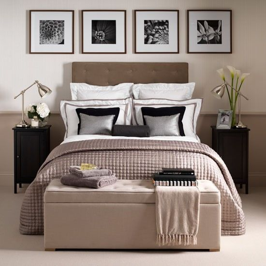 Neutral hotel-chic bedroom  This hotel-chic bedroom uses soothing neutral tones of caramel, toffee and mink along with hints of black and silver highlights. Matching tables, lamps and cushions add symmetry and create a polished finish.