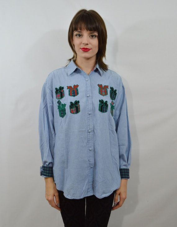 90s Denim Shirt Ugly Christmas Plaid MED Large by gothwave on Etsy