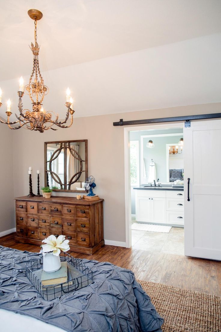 Fixer upper living rooms further joanna gaines fixer upper bathroom - Chip Installed A Sliding Barn Door For The Entrance From The Bedroom To The Master Bath Fixer Upper