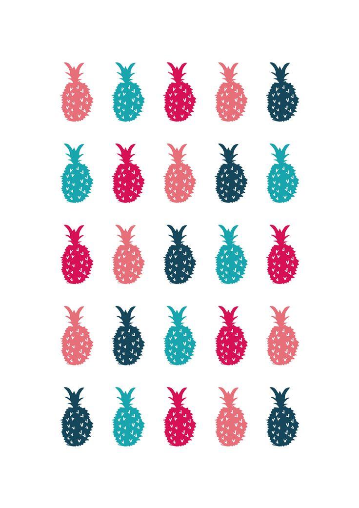 Pineapples // Sarah Jager Design #pineapples #printandpattern #pink