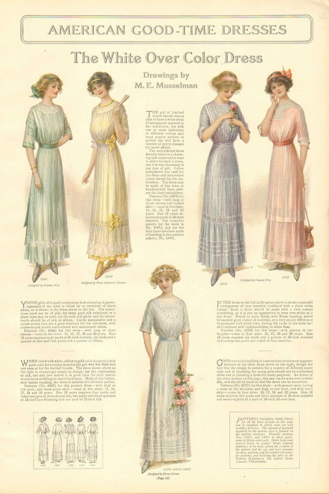 1912 Ladies' Fashions, The White Over Color Dress