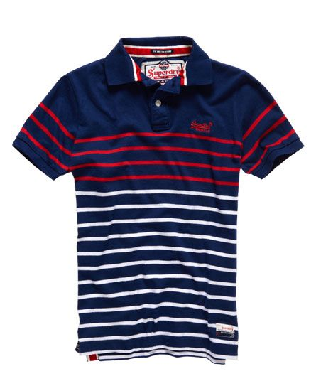 Shop Superdry Mens Chest Band Breton Polo Shirt in Rinse Navy / Red. Buy  now with free delivery from the Official Superdry Store.